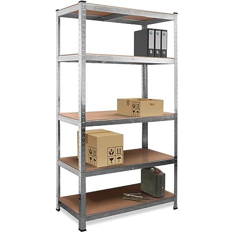 new product 4adde fbcca Deuba Shelf Shelving Units Storage Unit Garage Racking 5 Tier Metal Rack  Boltless Heavy Duty Industrial Shelves 180 x 90 x 40 cm