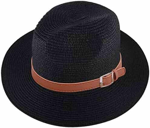 5528c5815 Lanzom Men Wide Brim Straw Foldable Roll up Hat Fedora Summer Beach Sun Hat  UPF50+