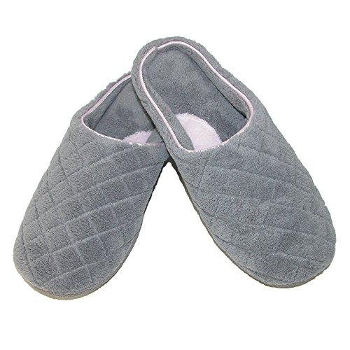 Dearfoams Women's Quilted Terry Clog Slipper, Small, Medium Grey