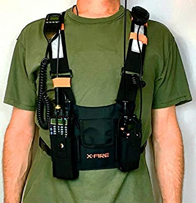 X-Fire (TM) Radio Chest Harness New Universal Carry Case Front Pack Holster Pouch Vest Rig for Two Way CB Ham Radio Walkie Talkie for Rigging Police Fire SAR Search & Rescue Disaster Prep