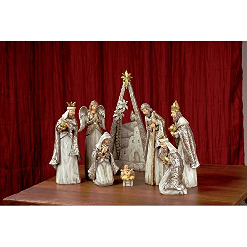 8 Piece Nativity Set - Jesus in a Manger - Individual Standing Pieces with the Bethlehem Backdrop by Carson