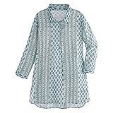 CATALOG CLASSICS Women's Mint Green Shirted Tunic Top - 3-Button Long Sleeve - 2X