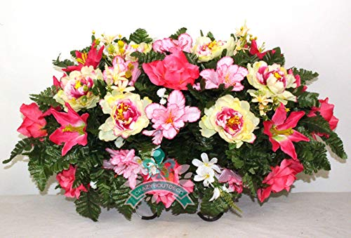 Beautiful XL Spring Peonies and Lilies Cemetery Saddle Flower Arrangement -