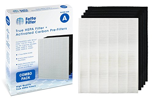 Winix Compatible Filter A 115115 True HEPA Filter, Plus 4 Replacement Carbon Activated Pre-Filters. Compatible Winix air Cleaner Models 6300, P300, 5300, 5300-2, 6300-2 C535