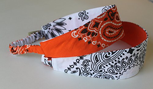 Bandana Headband made with actual Bandanas. Perfect for University of Tennessee, Houston State University, University of Texas! Reversible Orange/White