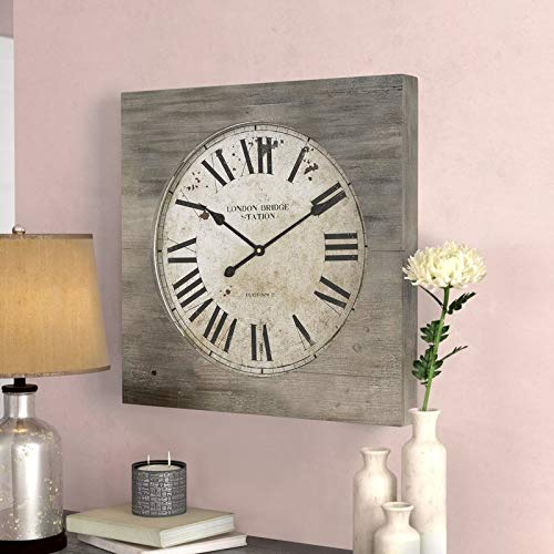 Manor Home Gifts - Lark Manor Wooden Wall Clock Roman Numeral Wall Clock London Bridge Station Battery Operatted Home Office Living Room Decoration Gifts