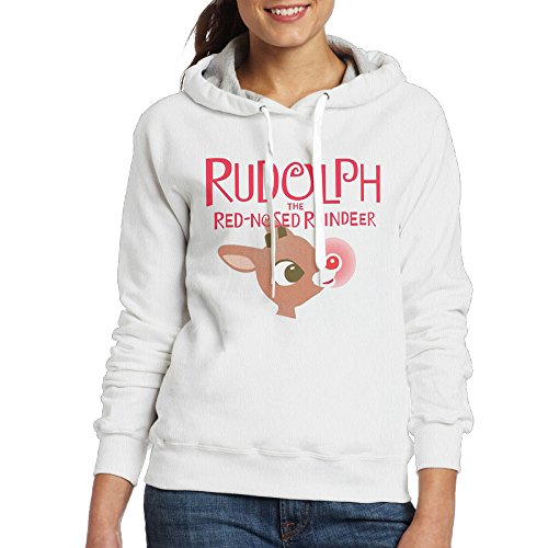 ITMEIAL Women's Rudolph The Red-Nosed Reindeer Hoodie White M