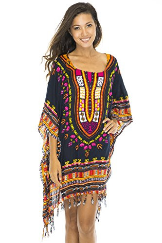 - Back From Bali Womens Swimsuit Beach Cover up Caftan Short Poncho Ethnic Black