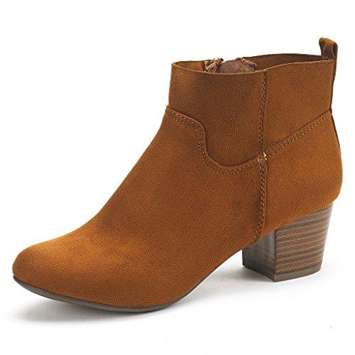 DREAM PAIRS Women's Keeny Tan Block Heel Side Zipper Ankle B