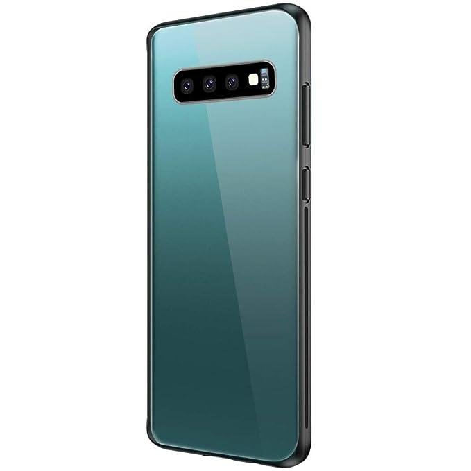 Coque Galaxy S10,Coque Galaxy S10e Housse Bords Couvrants en Silicone TPU Souple Bumper Transparente avec Rev/êtement Arri/ère en Verre Tremp/é,Etui Protection Anti-Rayure pour Galaxy S10 Plus 6, S10