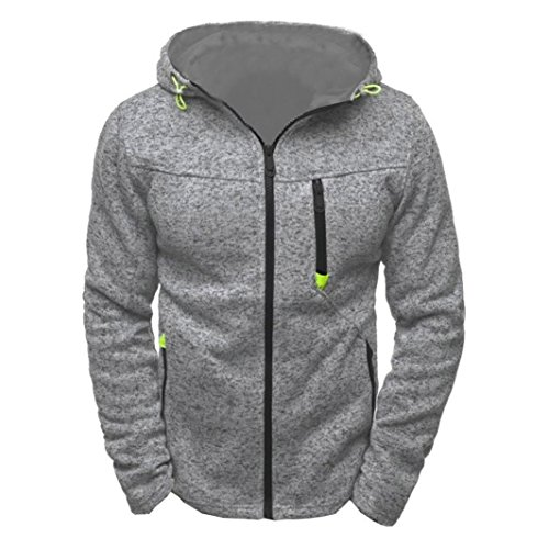 IEason Men Top, Men's Hoody Zipper Slim Hoodies Sweatshirts Pullover Coat Jacket (M, Gray)