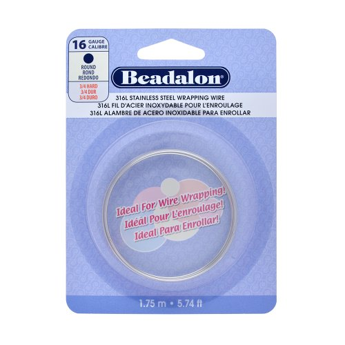 Beadalon 316L Stainless Steel Wrapping Wire, 16-Gauge, Round