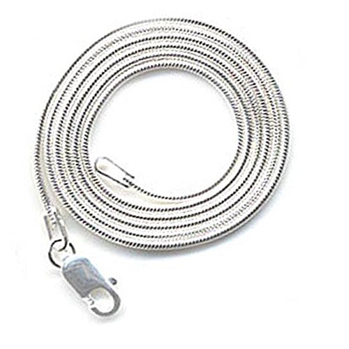 Sterling Silver Snake Chain Necklace 16 inch long 0.60 mm thickness Rhodium Plated Lobster (Rhodium Plated Lobster Clasp)