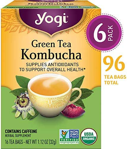 Yogi Tea - Green Tea Kombucha - Supplies Antioxidants - 6 Pack, 96 Tea Bags Total