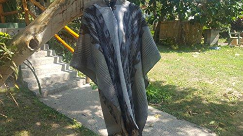 Alpaca Poncho Hooded Closed Gray w/stripes, Made in (Stripe Alpaca Poncho)