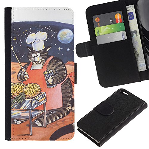 OMEGA Case / Apple Iphone 6 4.7 / huge space cat art funny fat stripes / Cuir PU Portefeuille Coverture Shell Armure Coque Coq Cas Etui Housse Case Cover Wallet Credit Card