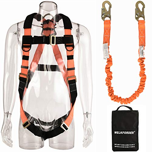 WELKFORDER 1 D-Ring Industrial Fall Protection Safety Harness Kit for Construction With Single Leg 6-Foot Fall Protection Internal Shock Stretchable Lanyard ANSI Complaint for - D-ring Harness Safety