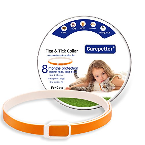 Carepetter Flea and Tick Collar for Cats, Best Cat Flea Collar, 8 Months Protection, One Size Fits All - Watherproof Flea Collar for Cats