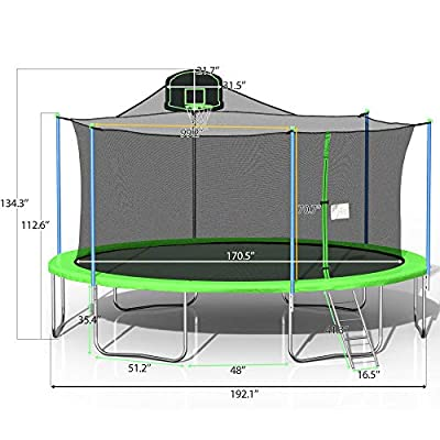 Round 16FT Trampoline Jumping Table with Safety Enclosure Net Spring Pad Combo Bounding Bed Trampoline Fitness Equipment, Outdoor Indoor Trampoline with Basketball Hoop Ladder Safety and Pads Top Safe : Sports & Outdoors