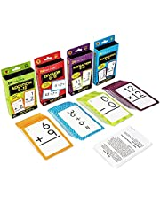 Carson Dellosa Math Flash Card Set—4-Pack, Double-Sided Cards, Addition, Subtraction, Multiplication, Division for Elementary Mathematics Practice (216 pc)