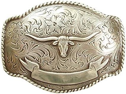 Western Cowboy Rodeo Decor Raised Silver Plated  Longhorn Belt Buckle