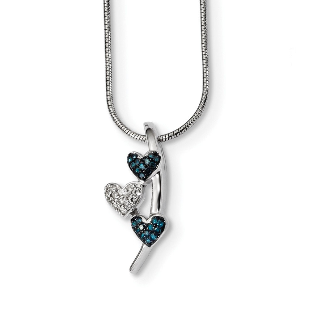 Brilliant Bijou Solid .925 Sterling Silver Polished Diamond//Blue Diamond Chain Pendant Slide