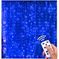 Lightess 300 Led Christmas String Fairy Outdoor Or Indoor Curtain Lights With Remote Control Blue