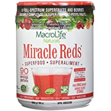 Miracle Reds Raw Organic Superfood| Powerful Gluten Free, Non GMO Fruit & Veggie Drink Powder| Contains List of Vital Reds including Digestive Enzymes, Tumeric, Probiotic, and Goji Berries