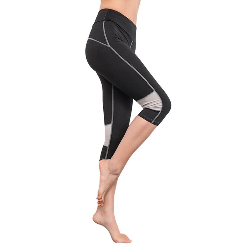 Gillberry Power Flex Yoga Capris Pants Tummy Control Workout Running 4 Way Stretch Yoga Capris Leggings Side Pocket (Black C, S)