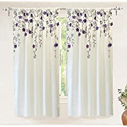"DriftAway Isabella Faux Silk Embroidered Window Curtain, Embroidered Crafted Flower, Lined with Thermal Fabric, Single Panel, 50""x63""(Ivory/Purple)"