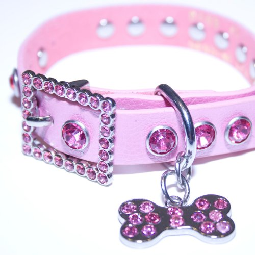 Medium Pink Leather, Rhinestone Dog Collar w/ Bling Dog Bone Pendant, My Pet Supplies