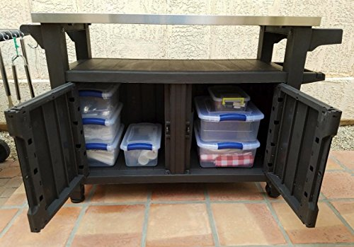 ATS Portable BBQ Table Outdoor Grill Cart Storage Table Indoor Kitchen Home Stainless Steel /& eBook by AllTim3Shopping