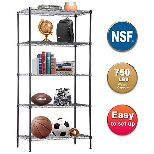 BestOffice 5 Tier Wire Shelving Unit  Heavy Duty Metal Shelf organizer Wire Rack Storage Unit NSF Certification Commercial Grade Rack Utility for Bathroom Office Kitchen 14Dx24Wx60H Inch,Black ()