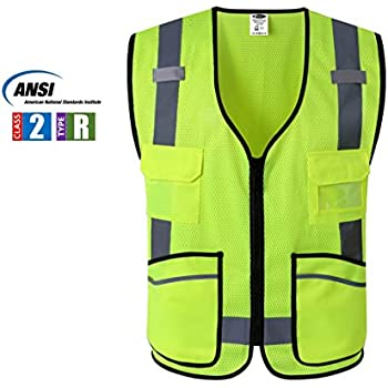JKSafety 7 Pockets Class 2 High Visibility Zipper Front Safety Vest Breathable Mesh With Reflective Strips, Yellow Meets ANSI/ISEA Standards Cool Cool XL