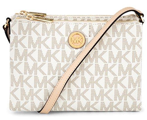 Michael Kors Signature Fulton EW Crossbody Bag PVC Vanilla