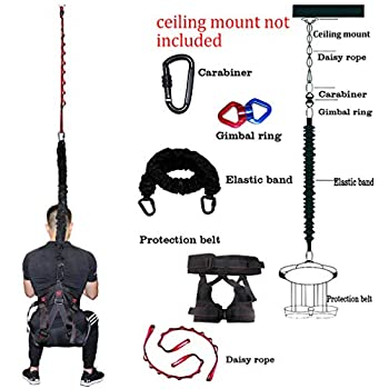 Image of DASKING Upgraded Version Heavy Yoga Bungee Rope Resistance Belt Bungee Workout Gravity Training Tool Equipment for Home Gym Yoga (Weight Class -2) Bungee Cords