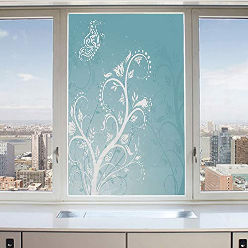 3D Decorative Privacy Window Films,Magical Nature Themed Ornaments Swirled Tree Branches Fantasy Butterfly Decorative,No-Glue Self Static Cling Glass film for Home Bedroom Bathroom Kitchen Office 17.5
