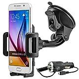 Universal 360° drehbar KFZ Auto Handy Smartphone Halterung Halter f. Samsung Galaxy S2 / S3 / S3 Mini / Note 2 / S4 / S4 Mini / S4 Active / Note 3 / S5 / S5 Mini / S5 Active / S5 Neo / Note 4 / Note Edge / Note 5 / Alpha / A3 / A5 / A8 / E3 / E5 / J5 / J7 / S6 / S6 Edge / S6 Edge+ usw. inkl. Micro USB KFZ-Ladekabel