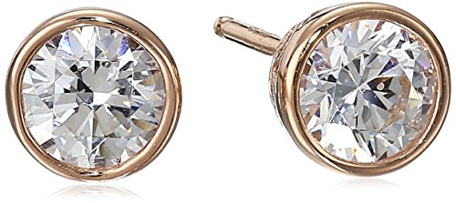 Rose Gold Plated Sterling Silver Bezel Stud Earrings set with Swarovski Zirconia (1 cttw)
