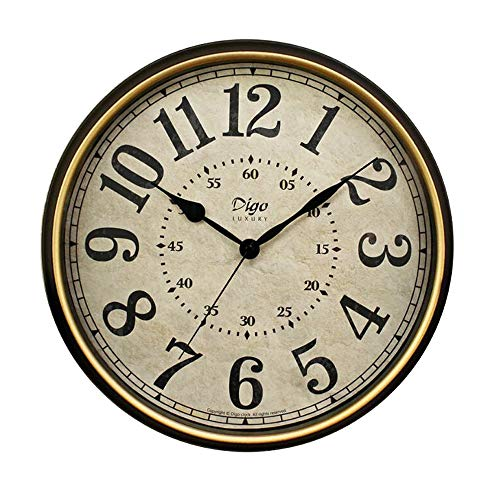 JUSTUP Large Wall Clock, 15 inch Vintage Wall Clock Non-Ticking Silent Battery Operated Black Clock with Metal Frame HD Glass Easy to Read for Indoor Decor 15in-Arabic