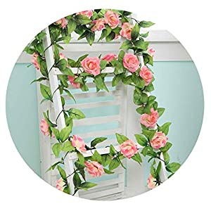 HuaHua-Store 240Cm Artificial Flowers Vine Home Wedding Garden Decoration Rose Fake Flowers Rattan String Festival Hanging Silk Flower 45
