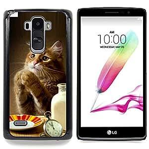 """Qstar Arte & diseño plástico duro Fundas Cover Cubre Hard Case Cover para LG G4 Stylus H540 (Gato del jengibre lindo Leche patas divertido Tabla de Alimentos"""")"""