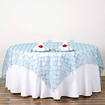 """SERENITI BLUE Sequined 108/"""" ROUND TABLECLOTH Designer Wedding Catering Linens"""