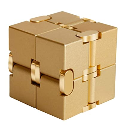 Alician Unlimited Cube Aluminum Alloy Reduced Pressure Pocket Toy Gold