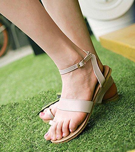 Aisun Mujeres Casual Antideslizante Hollow Out Toe Anillo Hebilla Sandalias De Playa Plana Zapatos Con Tobillo Correas Beige