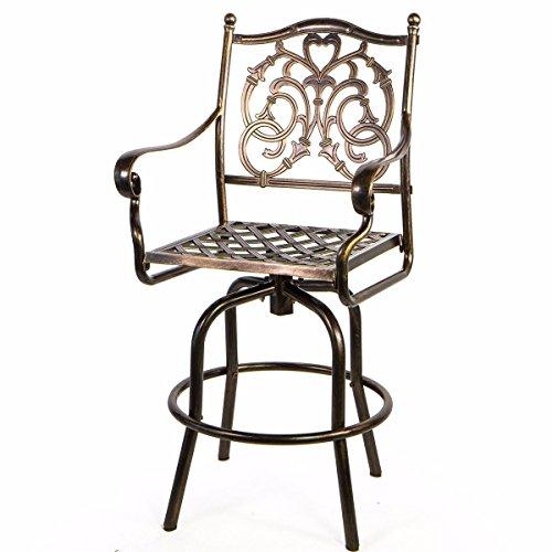 Asher Amada Outdoor Cast Aluminum Swivel Bar stool Patio Furniture Antique Copper Design