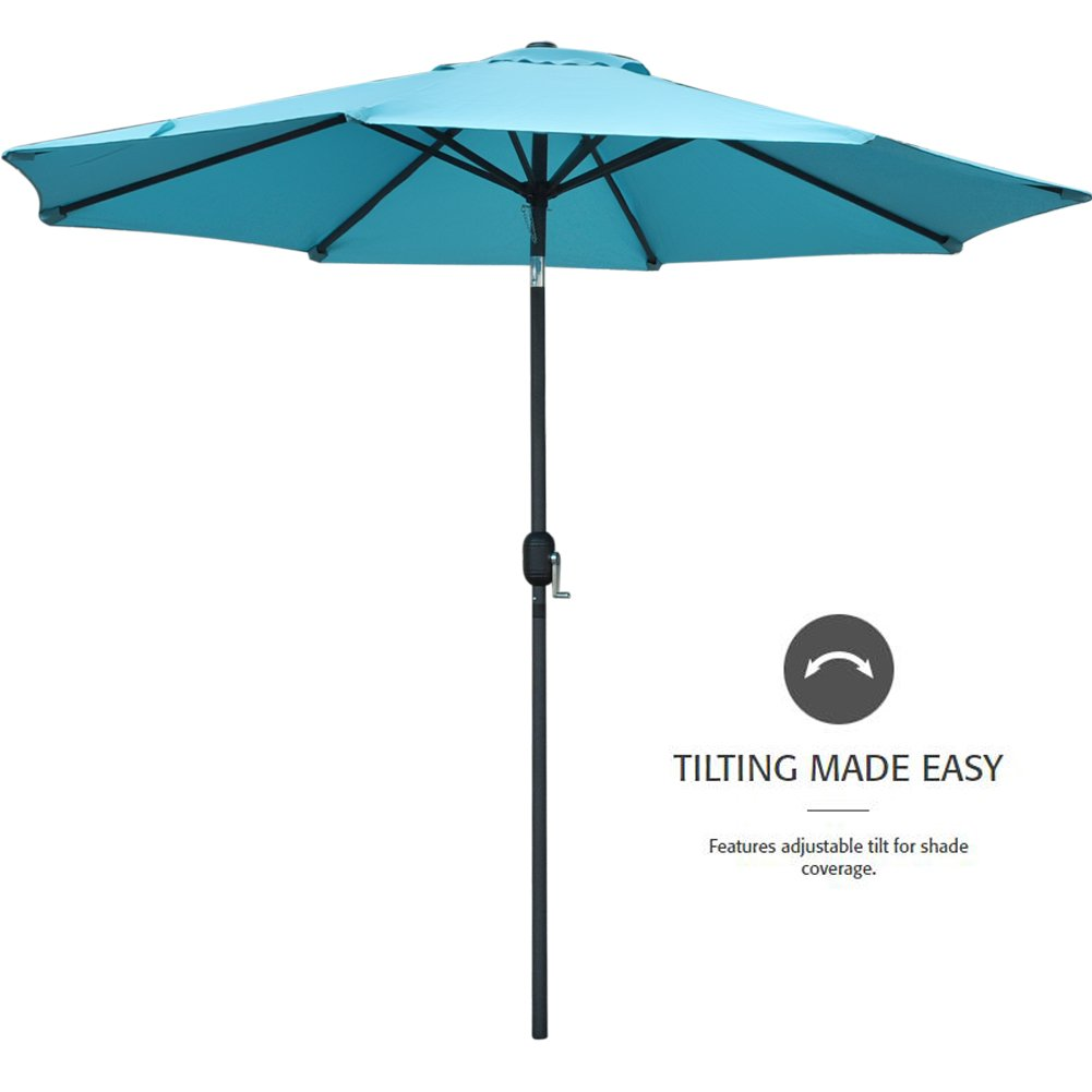 Snail 9' Aluminum Patio Umbrella UV Protection Fade Resistant Outdoor Market Umbrella with Push Button Tilt, 8 Ribs, Light Blue