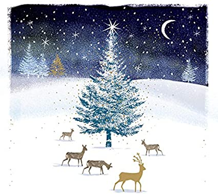 Pack of 5 Deer Traditional Christmas Cards Ling Design Festive Card Packs: Amazon.es: Oficina y papelería