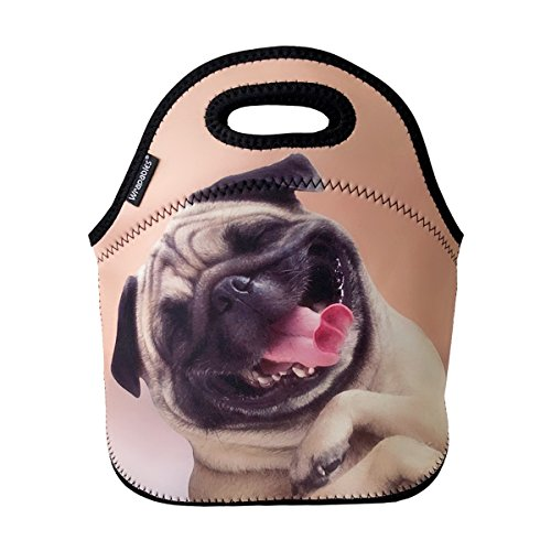 ALLYDREW Insulated Neoprene Lunch Bag Zipper Lunch Box Tote, Happy Pug]()