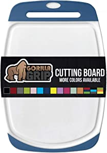 Gorilla Grip Original Oversized Cutting Board, Large Size, 16 x 11.2 Inch, Juice Grooves, Thick Board, Easy Grip Handle, Perfect for the Dishwasher, Non Porous, Kitchen, Chef, Professional, Blue